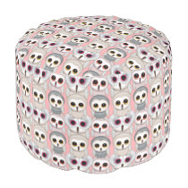 Baby Owls On Pale Pink Background Pattern Pouf