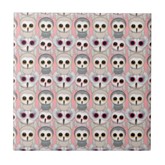 Baby Owls on Pink Pattern Ceramic Tile