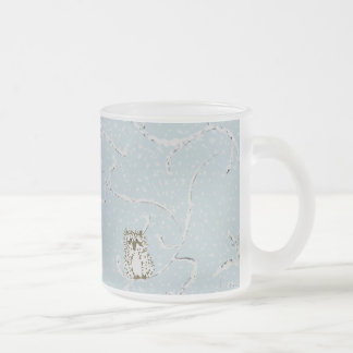 Baby Owls on Winter Snowy Limbs Frosted Glass Coffee Mug