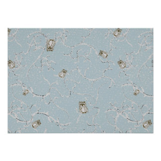 Baby Owls on Winter Snowy Limbs Poster