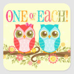 Baby Owls - One of Each! Boy Girl Twins Stickers