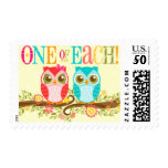 Baby Owls - One of Each! Twins Postage Stamps