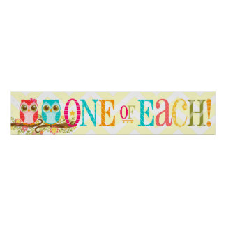 Baby Owls - One of Each! Twins Shower Banner Poster
