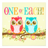 Baby Owls - One of Each! Twins Shower Invitation