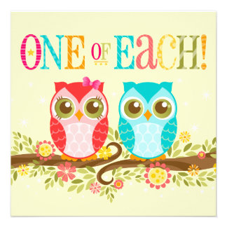 Baby Owls - One of Each Twins Shower Invitation