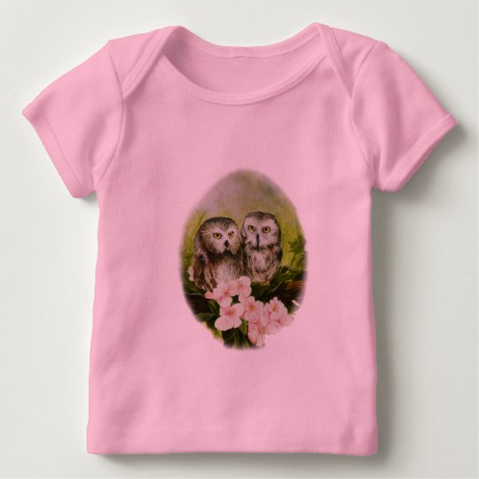 Baby Owls painting on customizable products Baby T-Shirt
