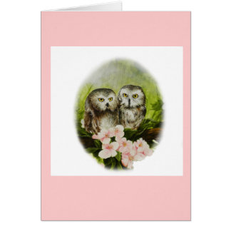 Baby Owls painting on customizable products Card