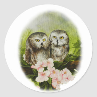 Baby Owls painting on customizable products Classic Round Sticker