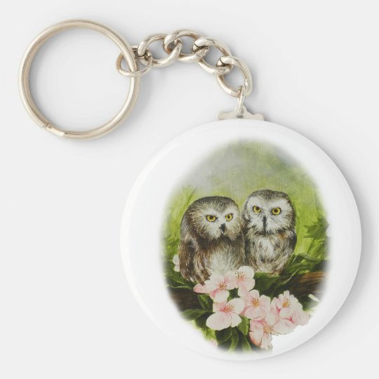 Baby Owls painting on customizable products Keychain