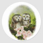 Baby Owls painting on customizable products Round Sticker