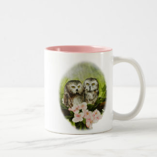 Baby Owls painting on customizable products Two-Tone Coffee Mug