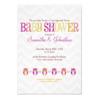 "Baby Owls - Twin Girls Baby Shower Invitation 5"" X 7"" Invitation Card"