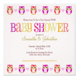 "Baby Owls - Twin Girls Shower Invitation 5.25"" Square Invitation Card"