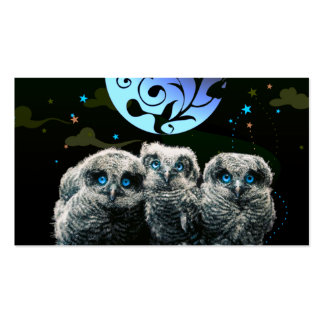 Baby Owls Under The Moonlight Business Cards