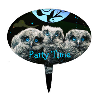 Baby Owls Under The Moonlight Cake Topper
