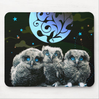 Baby Owls Under The Moonlight Mouse Pad