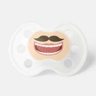 Baby pacifier with mustache and big smile