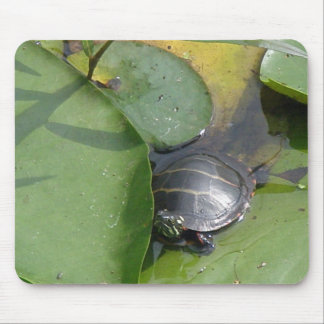Baby Painted Turtle on Lilypad Items Mouse Pad
