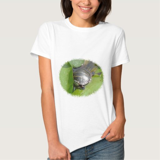 Baby Painted Turtle on Lilypad Items Tshirts