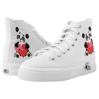 Baby Panda and Heart High-Top Sneakers
