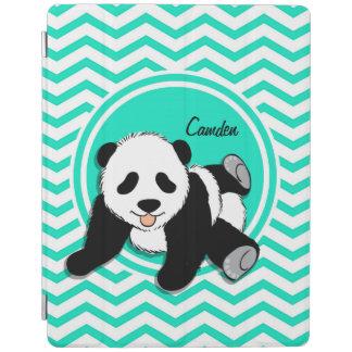 Baby Panda Aqua Green Chevron iPad Cover