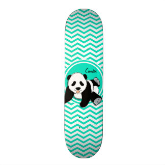 Baby Panda; Aqua Green Chevron Custom Skate Board