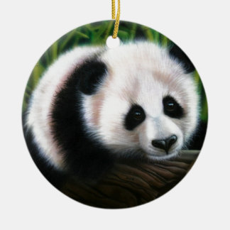 Baby panda balancing on a log ceramic ornament