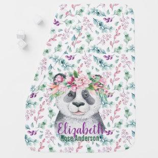 Baby Panda Bear Purple Green Flowers Swaddle Baby Blanket