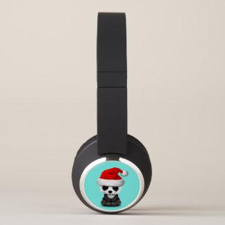 Baby Panda Bear Wearing a Santa Hat Headphones