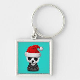 Baby Panda Bear Wearing a Santa Hat Keychain