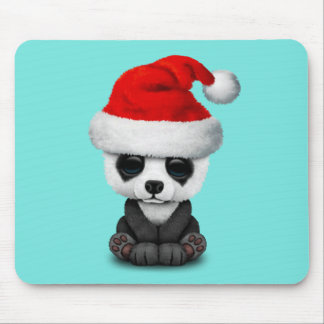 Baby Panda Bear Wearing a Santa Hat Mouse Pad