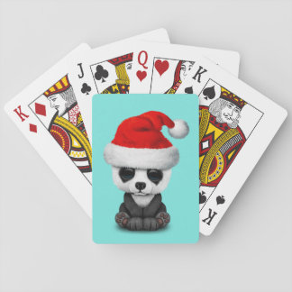 Baby Panda Bear Wearing a Santa Hat Playing Cards