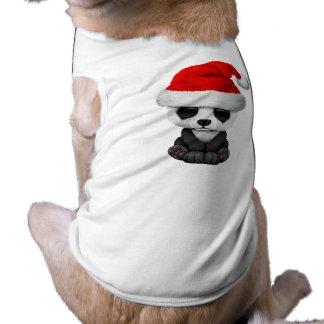 Baby Panda Bear Wearing a Santa Hat T-Shirt