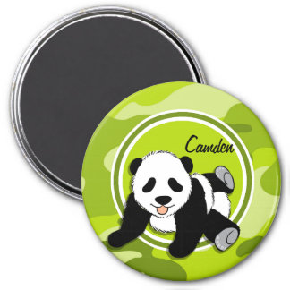 Baby Panda; bright green camo, camouflage Magnets