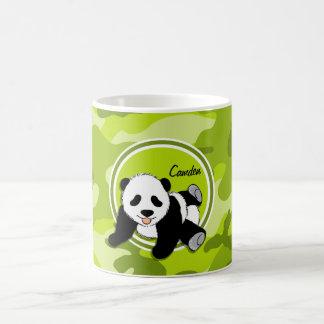 Baby Panda; bright green camo, camouflage Coffee Mug