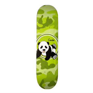 Baby Panda; bright green camo, camouflage Skate Deck