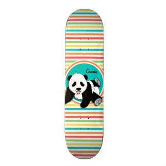 Baby Panda; Bright Rainbow Stripes Custom Skate Board