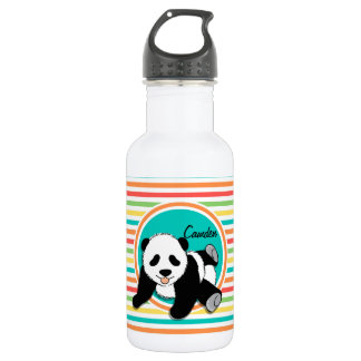 Baby Panda; Bright Rainbow Stripes Water Bottle