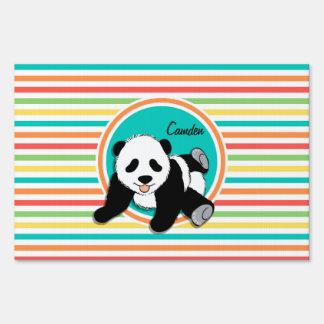 Baby Panda; Bright Rainbow Stripes Yard Sign