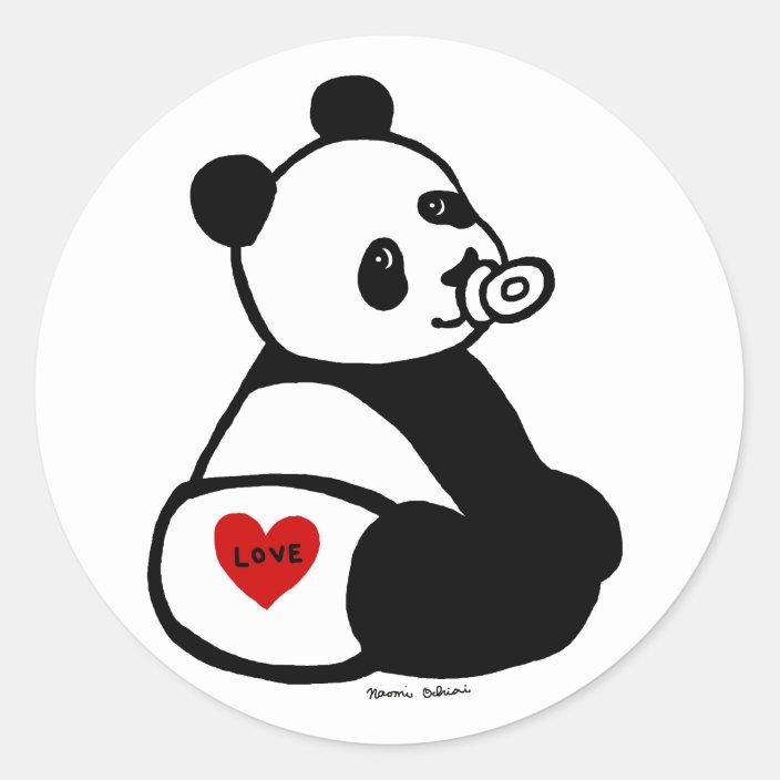 Baby Panda Cartoon Classic Round Sticker Zazzle Com