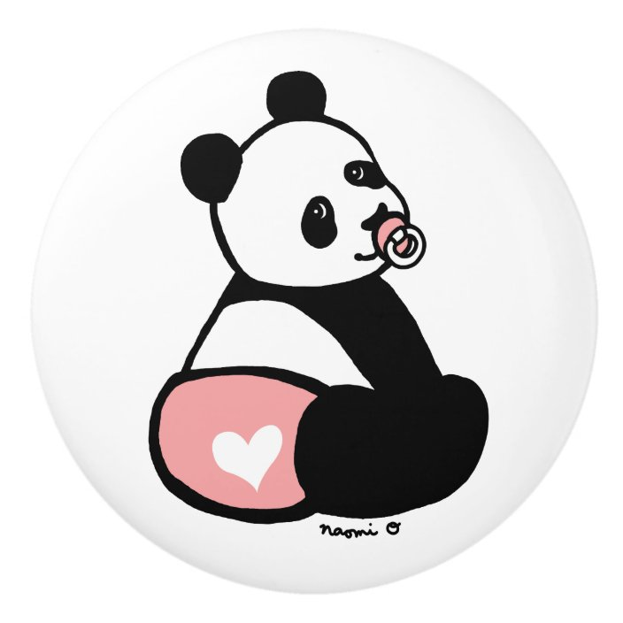 Baby Panda Cartoon Pink Diaper Knob Zazzle Com