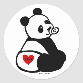 Baby Panda Cartoon Round Stickers