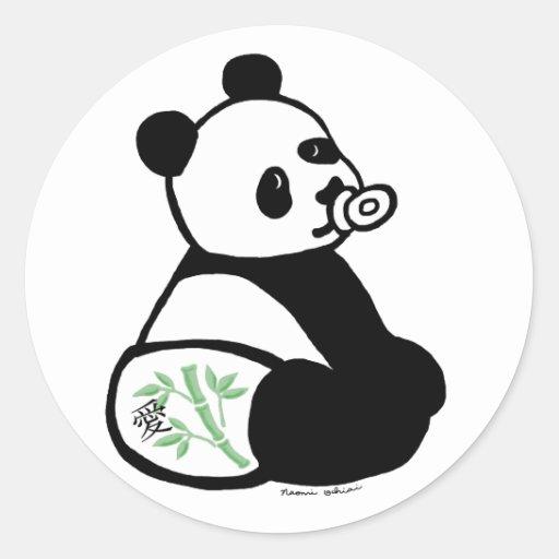 Baby Panda Cartoon Classic Round Sticker Zazzle