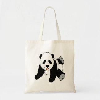 Baby panda cub playing canvas bags