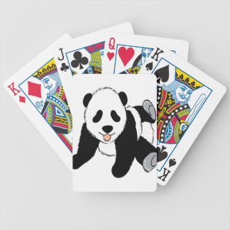 Baby panda cub playing bicycle playing cards