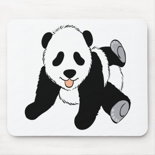 Baby panda cub playing mouse pad