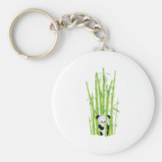 Baby Panda in Bamboo Forest Basic Round Button Keychain