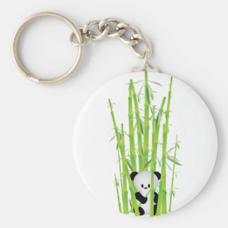 Baby Panda in Bamboo Forest Keychain