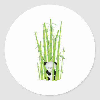 Baby Panda in Bamboo Forest Round Stickers
