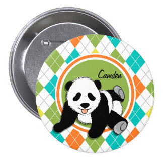 Baby Panda on Colorful Argyle Pattern Pins